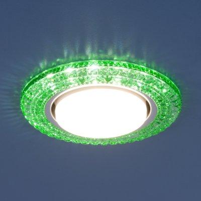 3030 GX53 GR зеленый Электростандарт Точечный светильник со светодиодамиКруглые<br>Лампа: GX53, max 13 Вт* + LED 4 Вт Диаметр: ? 135 мм  Высота внутренней части: ? 29 мм Высота внешней части: ? 11 мм Монтажное отверстие: ? 82 мм Гарантия: 2 года *Лампа в комплект не входит.<br><br>Тип цоколя: GX53<br>Диаметр, мм мм: 135<br>Диаметр врезного отверстия, мм: 82