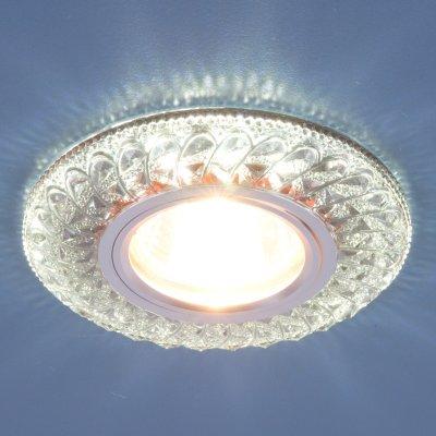 2180 MR16 SB дымчатый Электростандарт Встраиваемый потолочный светильник со светодиодной подсветкойХрустальные<br>Лампа: MR16, max 50 Вт + LED Мощность LED подсветки: 3 Вт Диаметр: ? 96 мм  Высота внутренней части: 19 мм  Высота внешней части: 11 мм  Монтажное отверстие: ? 60 мм  Гарантия: 2 года<br><br>Тип цоколя: gu5.3<br>Диаметр, мм мм: 96<br>Диаметр врезного отверстия, мм: 60<br>MAX мощность ламп, Вт: 50