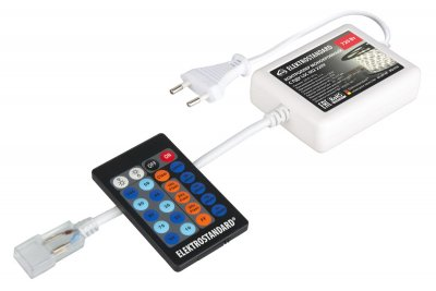 Контроллер для одноцветных светодиодных лент с ПДУ LSC 002 220V ЭлектростандартКонтроллеры для светодиодной ленты<br>Контроллер комплектуется переходником c ленты 5050 на 3528 и ПДУ с радиоканалом.<br> Питание: 220 В / 50 Гц Выходное напряжение: DC 220 В Максимальный ток: 3,5 A  Максимальная мощность: 720 Вт Пылевлагозащищенность: IP44 Размер контроллера: 90 х 70 х 27 мм Рабочая температура: - 20°...+60°С Максимальная зона действия пульта: 10 метров (при прямой видимости) Элементы питания ПДУ: CR2025, 3V Класс энергоэффективности: А Гарантийный срок 12 месяцев Срок службы 10 лет.<br>