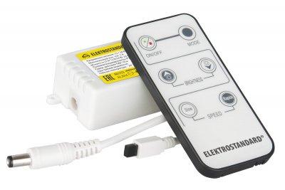 Контроллер для одноцветных светодиодных лент с ПДУ LSC 003 12V  ЭлектростандартКонтроллеры<br>Напряжение питания: 12 / 24 В Максимальный вых. ток: 2 A Максимальная нагрузка при питании 12 В: 24 Вт Максимальная нагрузка при питании 24 В: 48 Вт Пылевлагозащищенность: IP20 Размер контроллера: 63 х 35 х 22 мм Радиус действия ПДУ: 10 м (при прямой видимости) Передача сигнала ПДУ: инфракрасный порт Элементы питания ПДУ: CR2025, 3 В Рабочая температура: - 20°…+60°C<br>