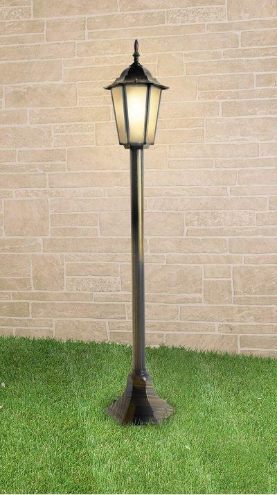 GL 1014F черное золото Электростандарт Светильник на столбеУличные светильники-столбы<br>Размер: 200 ? 200 ? 1200 мм Мощность: 100 Вт  Цоколь: Е27 Питание: 220-240 В / 50 Гц Срок службы: 10 лет Гарантийный срок: 36 месяцев<br><br>Тип лампы: Накаливания / энергосбережения / светодиодная<br>Тип цоколя: E27<br>Количество ламп: 1<br>MAX мощность ламп, Вт: 100