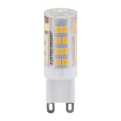 Лампа светодиодная Elektrostandard G9 LED 5W 220V 4200KКапсульные G9 220v<br>Мощность: 5 Вт Температура света: 4200 K Размер: ? 15 х 50 мм Световой поток: 425 лм Количество светодиодов: 51 SMD LED Питание: АС 220 В / 50 Гц Цоколь: G9 Ресурс: 50 000 ч<br><br>Тип цоколя: G9