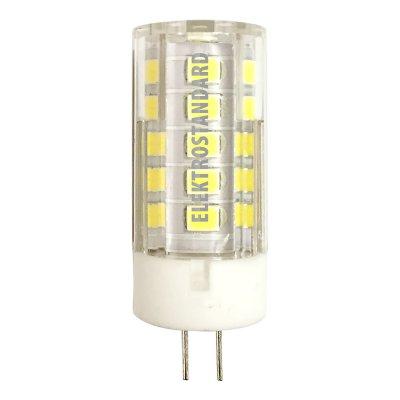 Лампа светодиодная Elektrostandard G4 LED 5W 220V 4200KКапсульные G4 12v<br>Питание: 220 В / 50 Гц Мощность: 5 Вт Температура света: 4200K Размер: ? 15 х 47 мм Световой поток: 425 лм Цоколь: G4 Количество светодиодов: 33 SMD Ресурс: 50 000 ч<br><br>Цветовая t, К: CW - холодный белый 4000 К (4200)<br>Тип лампы: LED<br>Тип цоколя: G4<br>MAX мощность ламп, Вт: 5