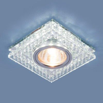 8391 MR16 CL/SL прозрачный/серебро Электростандарт Точечный светодиодный светильникКвадратные<br>Лампа: MR16 G5.3 max 35 Вт Размер: 95x95 мм Высота внутренней части: ? 13 мм Высота внешней части: ? 19 мм Монтажное отверстие:  ?60 мм Гарантия: 2 года<br><br>Тип цоколя: gu5.3<br>Ширина, мм: 95<br>Диаметр врезного отверстия, мм: 60<br>Длина, мм: 95<br>MAX мощность ламп, Вт: 35