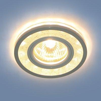 7020 MR16 WH/SL белый/серебро Электростандарт Точечный светодиодный светильникКруглые<br>Лампа: MR16, max 35 Вт + LED Мощность LED подсветки: 3 Вт Диаметр: ? 92 мм Высота внутренней части: 11 мм Высота внешней части: 12 мм Монтажное отверстие: ? 60 мм Гарантия: 2 года<br><br>Тип цоколя: gu5.3<br>Диаметр, мм мм: 92<br>Диаметр врезного отверстия, мм: 60<br>MAX мощность ламп, Вт: 35