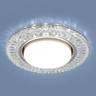 3021 GX53 CL прозрачный Электростандарт Точечный светодиодный светильникХрустальные<br>Лампа: GX53, max 13 Вт* + LED 4 Вт Диаметр: ? 130 мм  Высота внутренней части: ? 28 мм Высота внешней части: ? 12 мм Монтажное отверстие: ? 95 мм Гарантия: 2 года * Лампа в комплект не входит.<br><br>Тип цоколя: GX53<br>Диаметр, мм мм: 130<br>Диаметр врезного отверстия, мм: 95