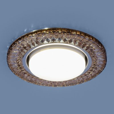 3021 GX53 GC тонированный Электростандарт Точечный светодиодный светильникХрустальные<br>Лампа: GX53, max 13 Вт* + LED 4 Вт Диаметр: ? 130 мм  Высота внутренней части: ? 28 мм Высота внешней части: ? 12 мм Монтажное отверстие: ? 95 мм Гарантия: 2 года * Лампа в комплект не входит.<br><br>Тип цоколя: GX53<br>Диаметр, мм мм: 130<br>Диаметр врезного отверстия, мм: 95