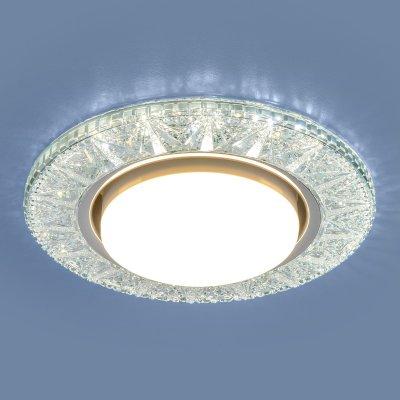 3022 GX53 CL прозрачный Электростандарт Точечный светодиодный светильникВстраиваемые хрустальные светильники<br>Лампа: GX53, max 13 Вт* + LED 4 Вт Диаметр: ? 130 мм  Высота внутренней части: ? 28 мм Высота внешней части: ? 12 мм Монтажное отверстие: ? 95 мм Гарантия: 2 года * Лампа в комплект не входит.<br><br>Тип цоколя: GX53<br>Диаметр, мм мм: 130<br>Диаметр врезного отверстия, мм: 95