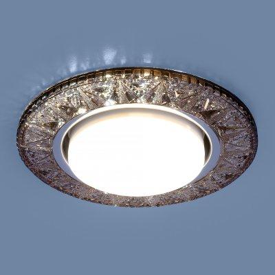 3022 GX53 GC тонированный Электростандарт Точечный светодиодный светильникВстраиваемые хрустальные светильники<br>Лампа: GX53, max 13 Вт* + LED 4 Вт Диаметр: ? 130 мм  Высота внутренней части: ? 28 мм Высота внешней части: ? 12 мм Монтажное отверстие: ? 95 мм Гарантия: 2 года * Лампа в комплект не входит.<br><br>Тип цоколя: GX53<br>Диаметр, мм мм: 130<br>Диаметр врезного отверстия, мм: 95