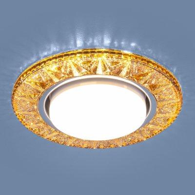 3022 GX53 GD золото Электростандарт Точечный светодиодный светильникХрустальные<br>Лампа: GX53, max 13 Вт* + LED 4 Вт Диаметр: ? 130 мм  Высота внутренней части: ? 28 мм Высота внешней части: ? 12 мм Монтажное отверстие: ? 95 мм Гарантия: 2 года * Лампа в комплект не входит.<br><br>Тип цоколя: GX53<br>Диаметр, мм мм: 130<br>Диаметр врезного отверстия, мм: 95