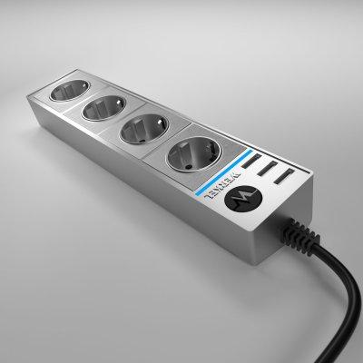 Розеточный блок 4-х местный + 3 USB серебряный/серебряный рифленый WL20-04-03 Werkel WL20-04-03 WL20-04-03 / Розеточный блок 4-х местный + 3 USB серебряный / серебряный рифленый фото