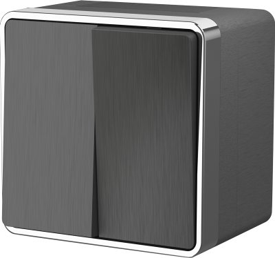 Выключатель двухклавишный влагозащищенный Gallant (графит рифленый) WL15-03-02 Werkel WL15-03-02 графит рифленый фото