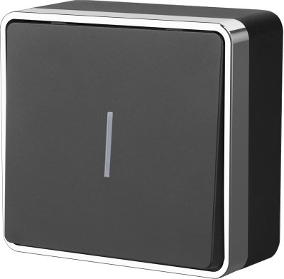Выключатель одноклавишный с подсветкой Gallant (черный/хром) WL15-01-04 WL15-01-04 черный / хром фото
