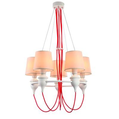 Светильник Arte lamp a3325lm-5wh SergioПодвесные<br><br><br>Установка на натяжной потолок: Да<br>S освещ. до, м2: 10<br>Крепление: Крюк<br>Тип товара: Светильник<br>Тип лампы: Накаливания / энергосбережения / светодиодная<br>Тип цоколя: E14<br>Количество ламп: 5<br>MAX мощность ламп, Вт: 40<br>Диаметр, мм мм: 600<br>Высота, мм: 900<br>Цвет арматуры: белый