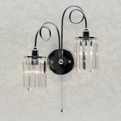 Citilux CL330321 Светильник настенный браХрустальные<br><br><br>Тип лампы: Накаливания / энергосбережения / светодиодная<br>Тип цоколя: E14<br>Количество ламп: 2<br>Ширина, мм: 170<br>MAX мощность ламп, Вт: 60<br>Длина, мм: 380<br>Высота, мм: 400<br>Цвет арматуры: серебристый