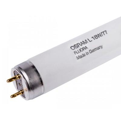 Фитолампа Osram L30/77 G13 895ммЛюм. лампы т8<br>Лампы OSRAM FLUORA- это облучатели для растений и аквариумов Люминесцентные лампы OSRAM FLUORA имеют особое излучение с преобладающей составляющей синего и красного цветов, аналогичное излучению, способствующему фотохимическим процессам. Благодаря такому излучению заметно ускоряется рост растений.  Лампы OSRAM FLUORA используются в местах, в которых растениям недостает естественного дневного света, например, в торговых центрах, офисах, отелях и цветами, в витринах, оранжереях и в аквариумах. Под светом ламп FLOURA растения хорошо растут в помещениях без дневного света или с недостаточным его количеством.<br><br>Тип лампы: люминесцентная<br>Тип цоколя: G13<br>MAX мощность ламп, Вт: 30<br>Длина, мм: 895<br>Высота, мм: 26<br>Оттенок (цвет): оранжевый аквариумные