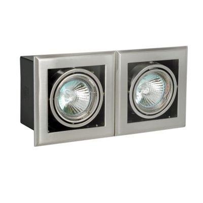 Светильник галогенный DAR M39*2G 12V 50W MR16 сатин никельКарданные<br>Светильник галогенный карданный DAR M39*2G 12V 50W MR16 сатин никель, с трансформатором и лампами в комплекте<br><br>S освещ. до, м2: 5 - 7<br>Тип лампы: галогенная MR19<br>Количество ламп: 2<br>Ширина, мм: 107<br>MAX мощность ламп, Вт: 50W<br>Диаметр врезного отверстия, мм: 90*200<br>Длина, мм: 205<br>Цвет арматуры: сатин-никель