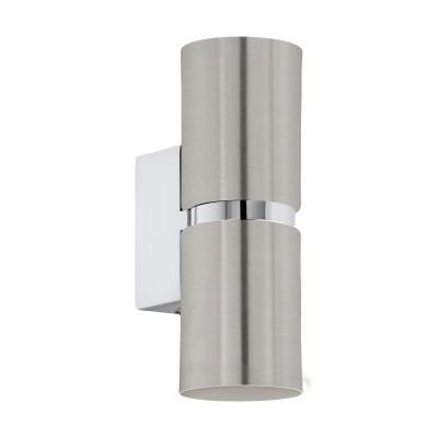 96261 Eglo - Светодиодное бра PASSAСовременные<br><br><br>Цветовая t, К: 3000<br>Тип лампы: LED - светодиодная<br>Тип цоколя: GU10<br>Цвет арматуры: серебристый<br>Количество ламп: 2<br>Ширина, мм: 60<br>Расстояние от стены, мм: 85<br>Высота, мм: 170<br>Поверхность арматуры: матовая<br>Оттенок (цвет): серебристый<br>MAX мощность ламп, Вт: 50