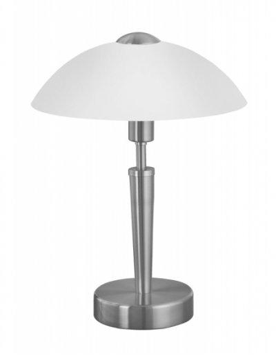 Eglo SOLO 1 85104 Настольная лампаСовременные<br>Австрийское качество модели светильника Eglo 85104 не оставит равнодушным каждого купившего! Основание матовая никилерованная сталь, матовое опаловое стекло белого цвета, Класс изоляции 2 (плоская вилка, двойная изоляция от вилки до лампы), сенсорный выключатель, IP 20, освещенность 860 lm Н=350,D=260.<br><br>S освещ. до, м2: 4<br>Тип товара: Настольная лампа<br>Тип лампы: накаливания / энергосбережения / LED-светодиодная<br>Тип цоколя: E14<br>Количество ламп: 1<br>MAX мощность ламп, Вт: 2<br>Диаметр, мм мм: 260<br>Размеры основания, мм: 130<br>Высота, мм: 350<br>Оттенок (цвет): белый<br>Цвет арматуры: серый<br>Общая мощность, Вт: 1X60W