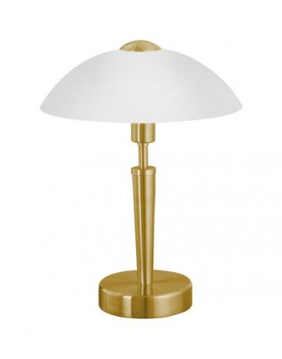 Eglo SOLO 1 87254 Настольная лампаКлассические<br>Австрийское качество модели светильника Eglo 87254 не оставит равнодушным каждого купившего! Основание матовая латунь, матовое опаловое стекло белого цвета, Класс изоляции 2 (плоская вилка, двойная изоляция от вилки до лампы), сенсорный выключатель, IP 20, освещенность 860 lm Н=350,D=260.<br><br>S освещ. до, м2: 4<br>Тип лампы: накал-я - энергосбер-я<br>Тип цоколя: E14<br>Количество ламп: 1<br>MAX мощность ламп, Вт: 2<br>Диаметр, мм мм: 260<br>Размеры основания, мм: 130<br>Высота, мм: 350<br>Оттенок (цвет): белый<br>Цвет арматуры: латунь<br>Общая мощность, Вт: 1X60W