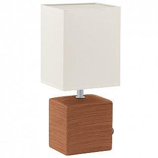 Eglo MATARO 93045 Настольные лампыСовременные настольные лампы модерн<br><br><br>Тип лампы: Накаливания / энергосбережения / светодиодная<br>Тип цоколя: E14<br>Цвет арматуры: коричневый<br>Ширина, мм: 130<br>Размеры основания, мм: 105 / 85<br>Длина, мм: 130<br>Высота, мм: 300<br>Оттенок (цвет): белый<br>Общая мощность, Вт: 1X40W