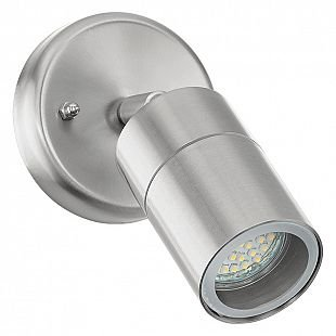 Eglo STOCKHOLM 1 93268 уличные светильникиНастенные<br><br><br>Тип цоколя: GU10-LED<br>MAX мощность ламп, Вт: 1X5W<br>Диаметр, мм мм: 65<br>Оттенок (цвет): прозрачный<br>Цвет арматуры: сталь<br>Общая мощность, Вт: 2