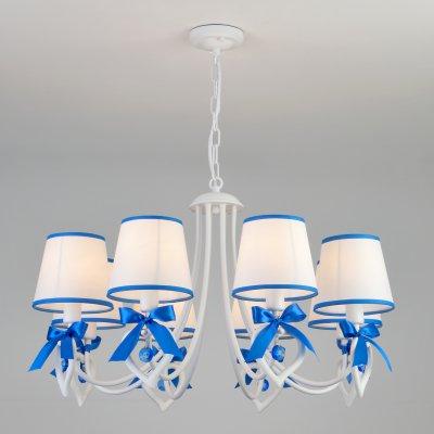 Люстра Евросвет 60066/8 белый/синийсовременные подвесные люстры модерн<br>Люстра Евросвет 60066/8 белый/синий сделает Ваш интерьер современным, стильным и запоминающимся! Наиболее функционально и эстетически привлекательно модель будет смотреться в гостиной, зале, холле или другой комнате. А в комплекте с настенными бра и торшером из этой же коллекции, сделает интерьер по-дизайнерски профессиональным и законченным.