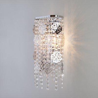 Настенный светильник бра Евросвет 10083/2 хром/прозрачный хрусталь Strotskis