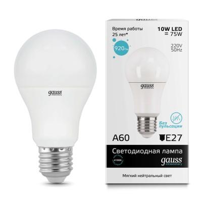 Лампа Gauss LED Elementary A60 15W E27 4100K/40Лампы с цоколем Е27<br>Лампа Gauss LED Elementary A60 15W E27 4100K/40 является неотъемлемой частью освещения в доме или любом другом помещении, ведь благодаря этой модели мы сможем в полном объеме использовать соответствующий данному цоколю светильник.