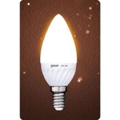 Лампа Gauss Led B35 Ceramic Candle 3W E14 2700K (= 30W)В виде свечи<br><br><br>Цветовая t, К: WW - теплый белый 2700-3000 К<br>Тип лампы: LED - светодиодная<br>Тип цоколя: E14<br>Цвет арматуры: керамический радиатор<br>Диаметр, мм мм: 37<br>Длина, мм: 100<br>MAX мощность ламп, Вт: 3