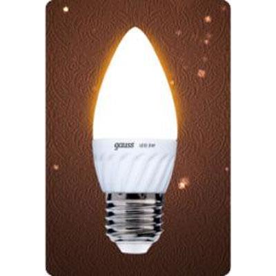 Лампа Gauss Led B35 Ceramic Candle 3W E27 2700K (= 30W)Лампы светодиодные LED в виде свечи для хрустальных люстр<br><br><br>Цветовая t, К: WW - теплый белый 2700-3000 К<br>Тип лампы: LED - светодиодная<br>Тип цоколя: E27<br>Цвет арматуры: керамический радиатор<br>Диаметр, мм мм: 37<br>Длина, мм: 100<br>MAX мощность ламп, Вт: 3