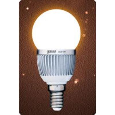 Лампа светодиодная Gauss Led P45 Globe 5W E14 2700K (= 60W обычной)В виде шарика<br><br><br>Цветовая t, К: WW - теплый белый 2700-3000 К<br>Тип лампы: LED - светодиодная<br>Тип цоколя: E14<br>MAX мощность ламп, Вт: 5<br>Диаметр, мм мм: 45<br>Длина, мм: 90<br>Цвет арматуры: алюминиевый радиатор