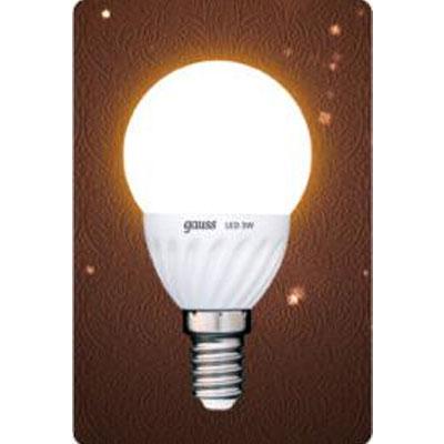 Лампа светодиодная Gauss Led P45 Ceramic Globe 3W E14 2700K (= 30W обычной)В виде шарика<br><br><br>Цветовая t, К: WW - теплый белый 2700-3000 К<br>Тип лампы: LED - светодиодная<br>Тип цоколя: E14<br>MAX мощность ламп, Вт: 3<br>Диаметр, мм мм: 45<br>Длина, мм: 90<br>Цвет арматуры: керамический радиатор