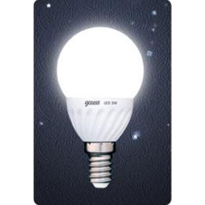 Лампа светодиодная Gauss Led P45 Ceramic Globe 3W E14 4100K (= 30W обычной)В виде шарика<br><br><br>Цветовая t, К: CW - холодный белый 4000 К<br>Тип лампы: LED - светодиодная<br>Тип цоколя: E14<br>Цвет арматуры: керамический радиатор<br>Диаметр, мм мм: 45<br>Длина, мм: 90<br>MAX мощность ламп, Вт: 3
