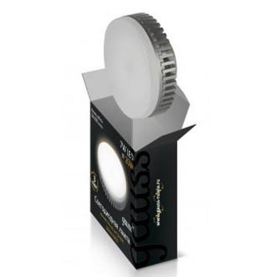 Светодиодная лампа Gauss LED GX53 8W 2700K ЕВ108008108С цоколем GX53<br>Аналог ламы мощностью до - 35 вт КЛЛ или 70 лампы накаливания<br><br> Указанная лампа применяется для освещения жилых помещений, торговых залов и витрин. Мягкий теплый свет. Габаритные размеры: 75x27мм. <br><br> Применение цилиндрического радиатора  с увеличенной площадью рассеивания способствует снижению температуры внутри лампы и как следствие  увеличению срока службы лампы. Срок службы светодиодных ламп составляет 40 000 часов.<br><br>Цветовая t, К: WW - теплый белый 2700-3000 К<br>Тип лампы: LED - светодиодная<br>Тип цоколя: G5.3(MR16)<br>MAX мощность ламп, Вт: 8<br>Диаметр, мм мм: 75<br>Высота, мм: 27