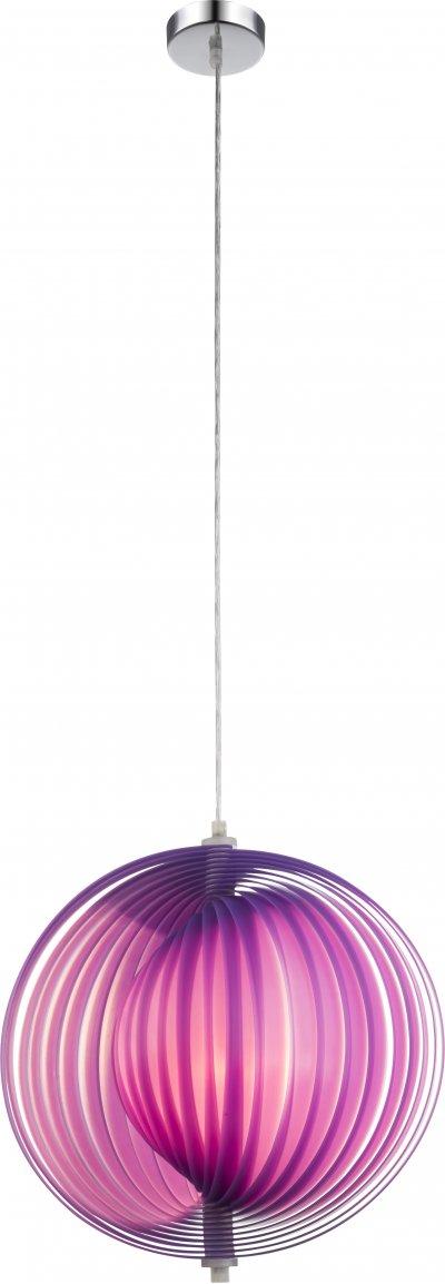 Светильник подвесной Globo 15102LОдиночные<br><br><br>Тип лампы: Накаливания / энергосбережения / светодиодная<br>Тип цоколя: E27<br>Диаметр, мм мм: 360<br>Высота, мм: 1200<br>Цвет арматуры: хром серебристый