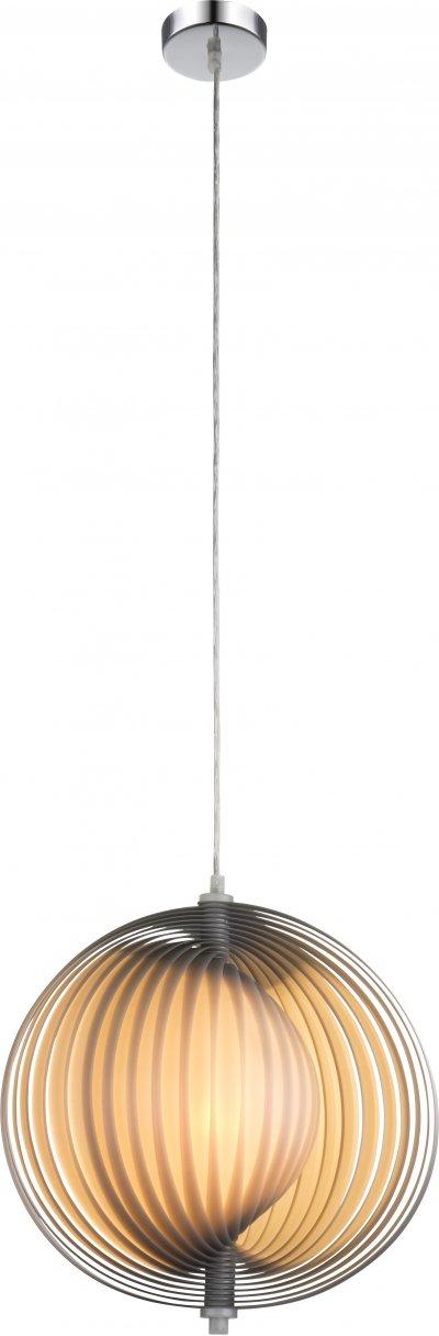 Светильник подвесной Globo 15102SОдиночные<br><br><br>Тип лампы: Накаливания / энергосбережения / светодиодная<br>Тип цоколя: E27<br>Цвет арматуры: хром серебристый<br>Количество ламп: 1<br>Диаметр, мм мм: 360<br>Высота, мм: 1200<br>MAX мощность ламп, Вт: 40