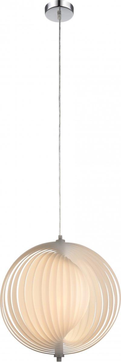 Светильник подвесной Globo 15102WОжидается<br><br><br>Тип цоколя: E27<br>Диаметр, мм мм: 360<br>Высота, мм: 1200<br>Цвет арматуры: хром серебристый