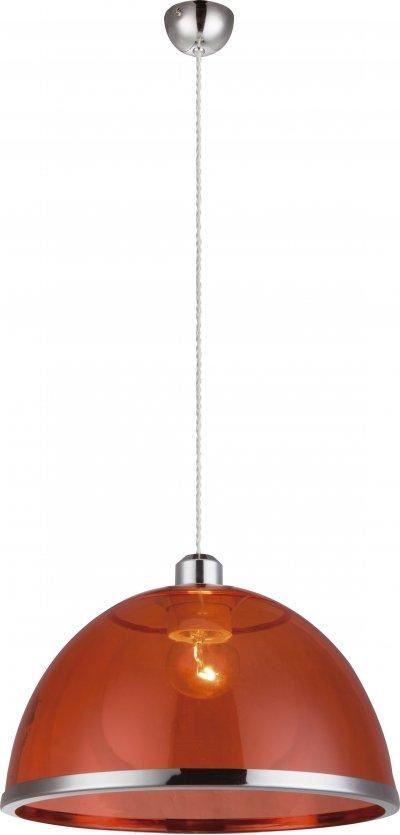 Светильник подвесной Globo 151840одиночные подвесные светильники<br><br><br>Тип лампы: Накаливания / энергосбережения / светодиодная<br>Тип цоколя: E27<br>Цвет арматуры: красный<br>Количество ламп: 1<br>Диаметр, мм мм: 340<br>Высота, мм: 1200<br>MAX мощность ламп, Вт: 60
