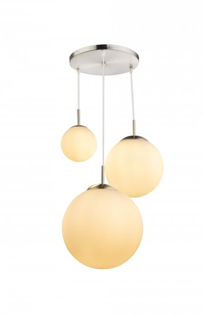 Подвес Globo 1581-3 JOELОжидается<br><br><br>Тип цоколя: E27<br>Цвет арматуры: серебристый никель<br>Количество ламп: 3<br>Диаметр, мм мм: 520<br>Высота, мм: 800<br>MAX мощность ламп, Вт: 180