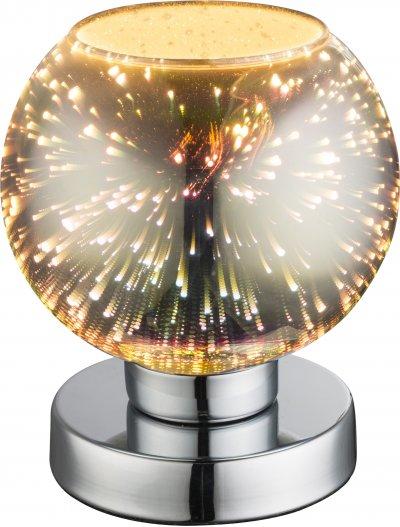 Настольная лампа Globo 15845TДекоративные<br><br><br>Тип лампы: Накаливания / энергосбережения / светодиодная<br>Тип цоколя: E14<br>Цвет арматуры: хром серебристый<br>Количество ламп: 1<br>Диаметр, мм мм: 150<br>Высота, мм: 180<br>MAX мощность ламп, Вт: 40