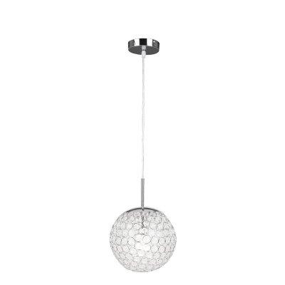 Светильник Globo 16003 хром KondaОдиночные<br><br><br>S освещ. до, м2: 4<br>Тип товара: Светильник подвесной<br>Скидка, %: 54<br>Тип лампы: накаливания / энергосбережения / LED-светодиодная<br>Тип цоколя: E27<br>Количество ламп: 1<br>MAX мощность ламп, Вт: 60<br>Диаметр, мм мм: 230<br>Высота, мм: 1500<br>Оттенок (цвет): серебристый<br>Цвет арматуры: серебристый хром