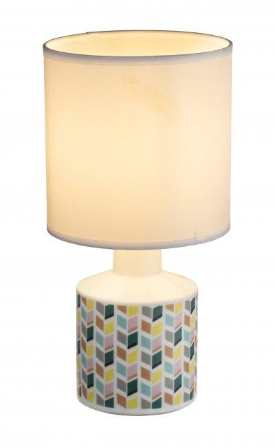 Настольная лампа Globo 21635 SIULAОжидается<br><br><br>Тип цоколя: E14<br>Цвет арматуры: белый, рисунок<br>Количество ламп: 1<br>Диаметр, мм мм: 140<br>Высота, мм: 280<br>MAX мощность ламп, Вт: 40