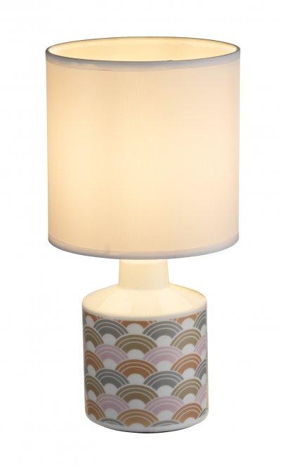 Настольная лампа Globo 21637 SIULAОжидается<br><br><br>Тип цоколя: E14<br>Цвет арматуры: белый, рисунок<br>Количество ламп: 1<br>Диаметр, мм мм: 140<br>Высота, мм: 280<br>MAX мощность ламп, Вт: 40