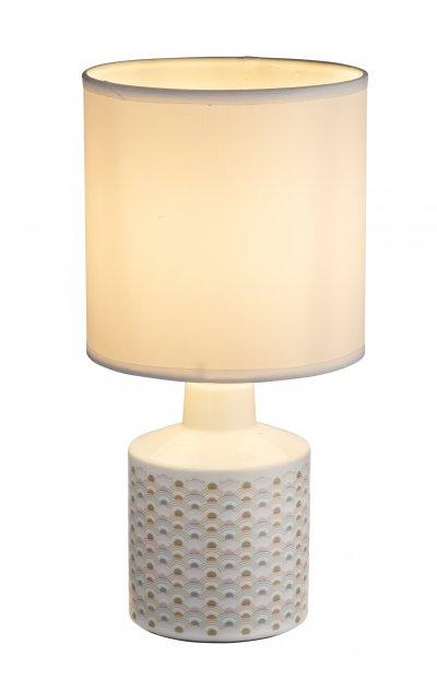 Настольная лампа Globo 21638 SIULAОжидается<br><br><br>Тип цоколя: E14<br>Цвет арматуры: белый, рисунок<br>Количество ламп: 1<br>Диаметр, мм мм: 140<br>Высота, мм: 280<br>MAX мощность ламп, Вт: 40