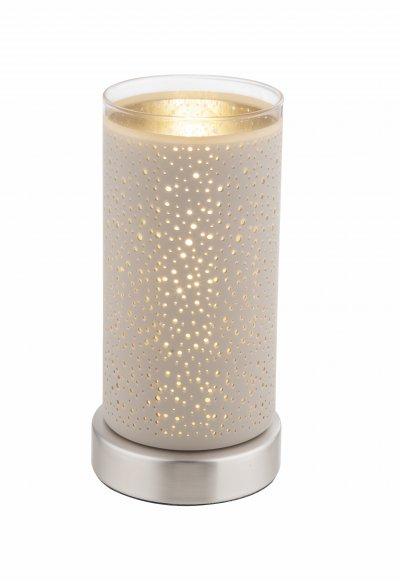 Настольная лампа Globo 21916T RINJANIОжидается<br><br><br>Тип цоколя: E14<br>Цвет арматуры: белый<br>Количество ламп: 1<br>Диаметр, мм мм: 100<br>Высота, мм: 200<br>MAX мощность ламп, Вт: 40
