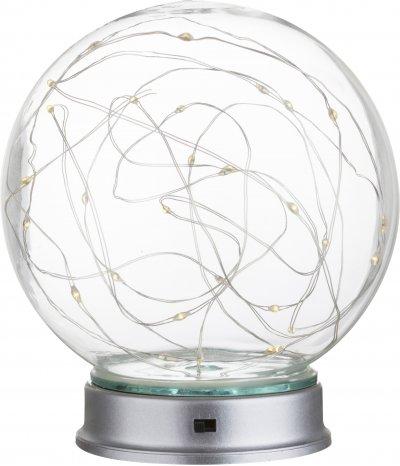 Настольная лампа декоративная Globo 29934Декоративные<br><br><br>Тип лампы: LED<br>Тип цоколя: LED<br>Цвет арматуры: серебро<br>Диаметр, мм мм: 130<br>Высота, мм: 150