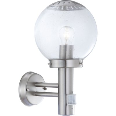 Светильник с датчиком Globo 3180S Bowle IIНастенные<br><br><br>Тип товара: Светильник уличный<br>Скидка, %: 22<br>Тип лампы: накаливания / энергосбережения / LED-светодиодная<br>Тип цоколя: E27<br>Количество ламп: 1<br>MAX мощность ламп, Вт: 60<br>Диаметр, мм мм: 200<br>Расстояние от стены, мм: 240<br>Высота, мм: 350<br>Цвет арматуры: серебристый