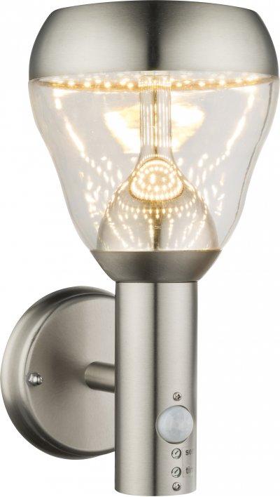 Светильник уличный с датчиком движения Globo 32250SОжидается<br><br><br>Тип цоколя: LED<br>Цвет арматуры: матовый никель серебристый<br>Глубина, мм: 182<br>Высота, мм: 150