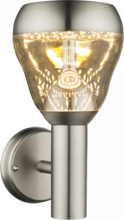 Светильник уличный Globo 32250Ожидается<br><br><br>Тип цоколя: LED<br>Цвет арматуры: матовый никель серебристый<br>Ширина, мм: 150<br>Глубина, мм: 182<br>Высота, мм: 288
